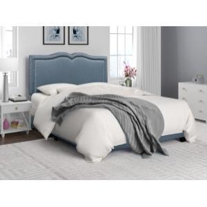 Accentrics Home - Delft Blue Nail Head Trim King Bed