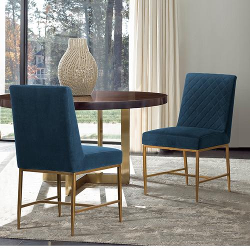 Memphis Blue Velvet and Antique Brass Accent Dining Chair- Set of 2