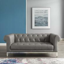 Idyll Tufted Button Upholstered Leather Chesterfield Loveseat in Gray
