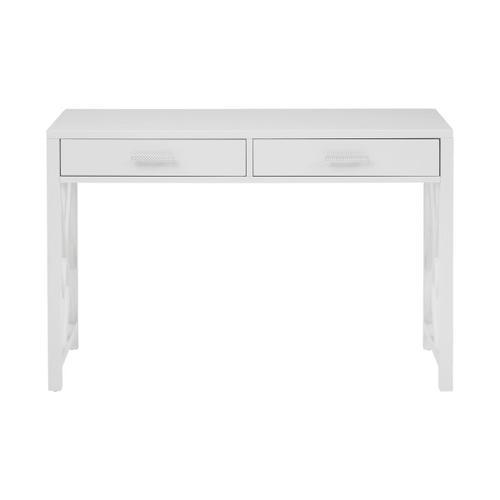 Glam Lattice 2 Drawer Wooden Desk in White