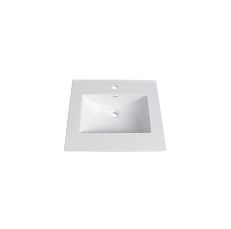 """25"""" White Ceramic Vanity Sink Top with Integral Bowl - single hole"""
