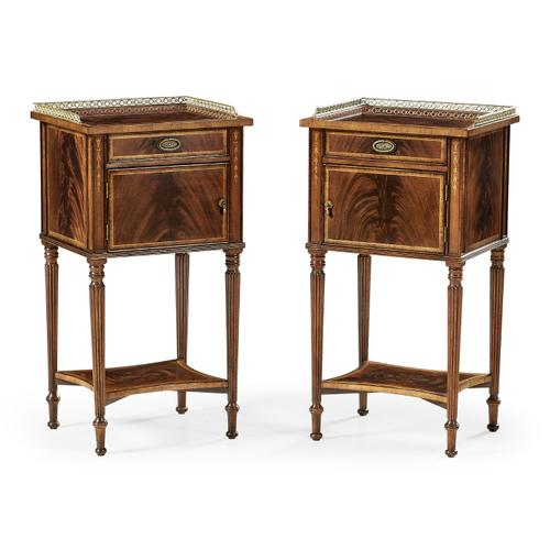 Jonathan Charles - Pair of Mahogany Bedside Cabinets with Brass Gallery