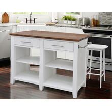 Hilton 3 Piece Counter Kitchen Island Set(Kitchen Island & 2 Stools)