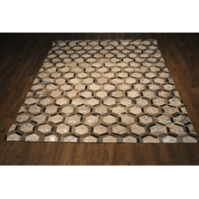 Durable Handmade Natural Leather Patchwork Cowhide PCH153 Area Rugs by Rug Factory Plus - 8' x 10' / Silver