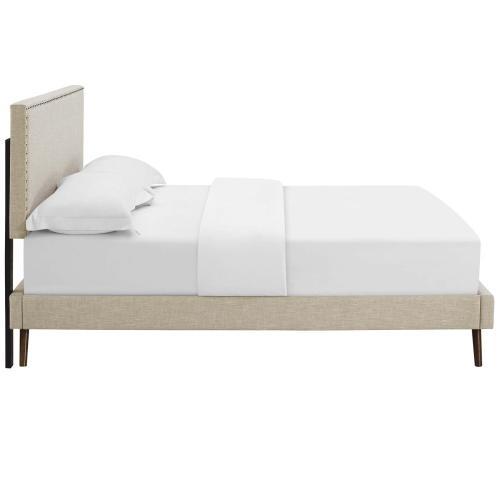 Macie Full Fabric Platform Bed with Round Splayed Legs in Beige