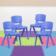 4 Pack Blue Plastic Stackable School Chair with 15.5'' Seat Height [4-YU-YCX-005-BLUE-GG]