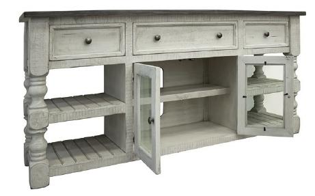 "Factory 7 70"" post Open Concept Console with 3-Drawers and 2-Doors"