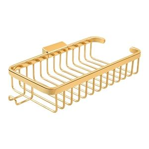 "Wire Basket, 10-3/8"" Rectangular, Shallow, With Hook - PVD Polished Brass Product Image"