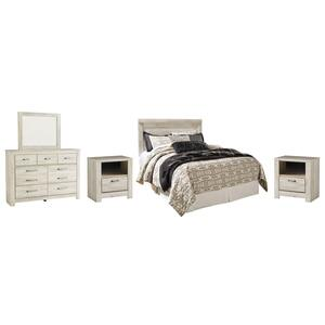 Queen Panel Headboard With Mirrored Dresser and 2 Nightstands