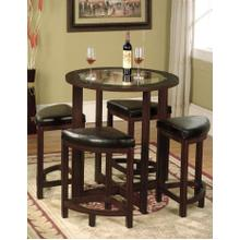 See Details - Solid Wood Glass Top Counter Height Table w/ 4 Stools