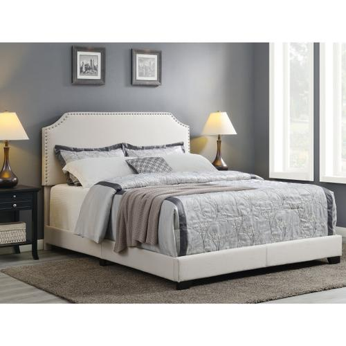 Clipped Corner Upholstered Queen Bed in Warm Gray