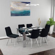 Frankfurt/Marlo 7pc Dining Set, Chrome/Black