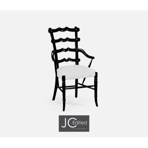 """Black """"Yoke"""" Ladderback Armchair, Upholstered in COM"""