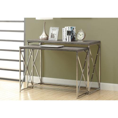 """Gallery - ACCENT TABLE - 46""""L / 2PCS SET / DARK TAUPE/ CHROME METAL"""