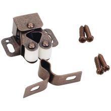 See Details - Double Roller Catch with Strike and Screws - Dark Brushed Antique Copper