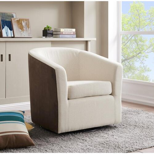 Hayden Fabric Swivel Accent Arm Chair, Cardiff Cream/Velvet Brown