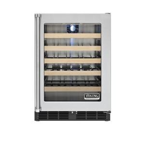 """Viking - 24"""" Undercounter Wine Cellar, Clear Glass, Right Hinge/Left Handle"""