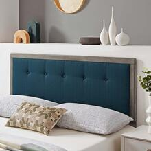 Draper Tufted Twin Fabric and Wood Headboard in Gray Azure