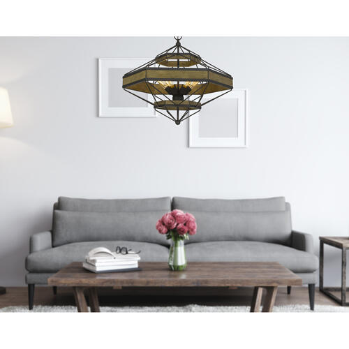 Alicante 60W X 6 Pine Wood/Metal Chandelier (Edison Bulbs Not included)