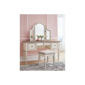 Realyn Vanity/Mirror/Stool (3/CN) Chipped White