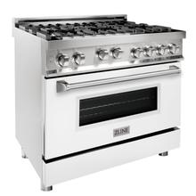 """See Details - ZLINE 36"""" Professional 4.6 cu. ft. 6 Gas on Gas Range in Stainless Steel with Color Door Options (RG36) [Color: White Matte]"""