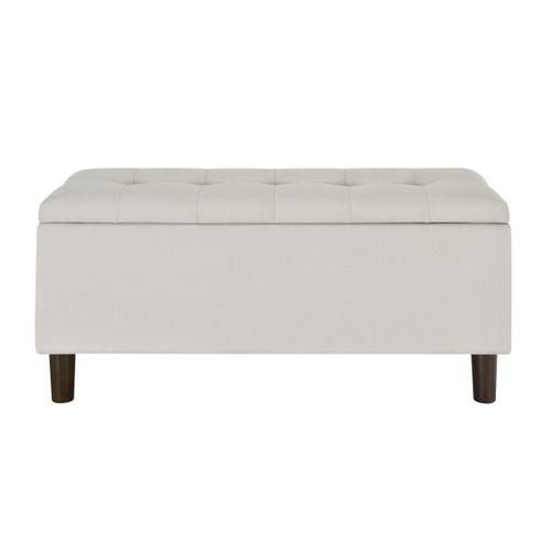 Accentrics Home - 42 Inch Hinged Top Storage Bench w/ Grid-Tufted Seat in Light Gray