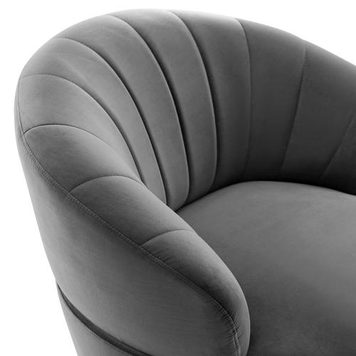 Billow Tufted Performance Velvet Swivel Chair in Gray
