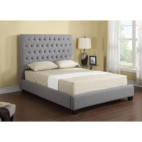 Emerald Home Footboard & Rails 6/6 Upholstered Linen/grey B107-12fbr-03