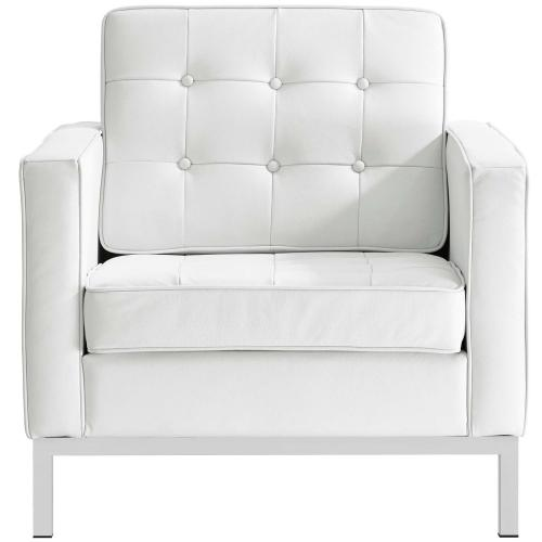 Loft 2 Piece Leather Armchair Set in Cream White