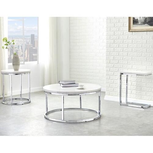 Echo White Marble Top Round End Table