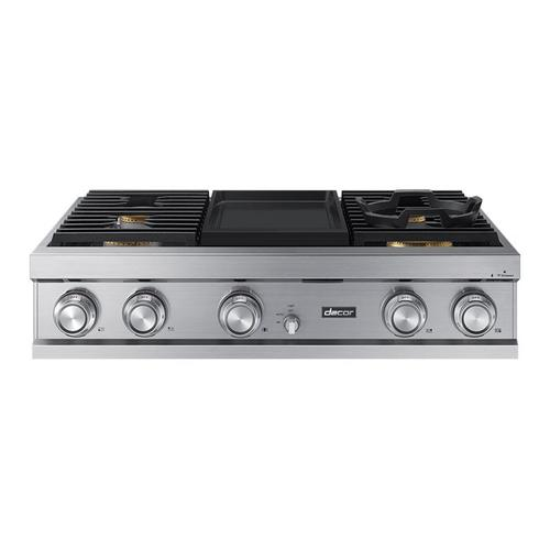 "36"" Rangetop, Silver Stainless Steel, High Altitude Natural Gas"