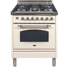 Nostalgie 30 Inch Gas Natural Gas Freestanding Range in Antique White with Chrome Trim