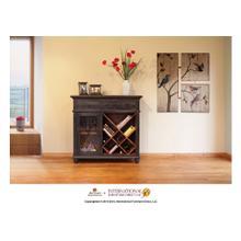 See Details - Bookcase/Wine Rack, 2 drawers, glass holder behind door * Removable shelf, Black finish