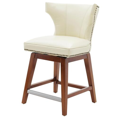 Product Image - Howie KD Bonded Leather Swivel Counter Stool, Beige