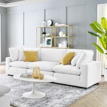 Commix Down Filled Overstuffed Performance Velvet 3-Seater Sofa in White