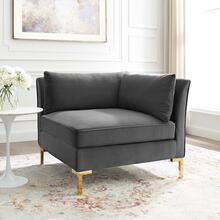 Ardent Performance Velvet Sectional Sofa Corner Chair in Gray