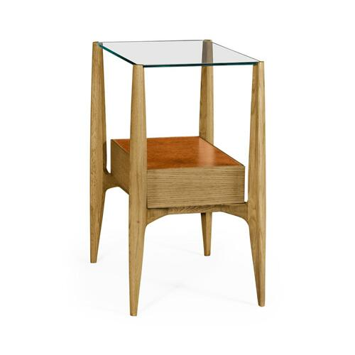 Rectangular architects end table with drawers