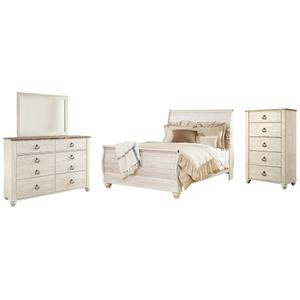 Queen Sleigh Bed With Mirrored Dresser and Chest