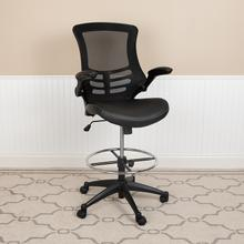 Mid-Back Black Mesh Ergonomic Drafting Chair with LeatherSoft Seat, Adjustable Foot Ring and Flip-Up Arms