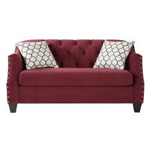 Moselle Transitional Modern Velvet Tufted Loveseat with Nainhead Trim, Red