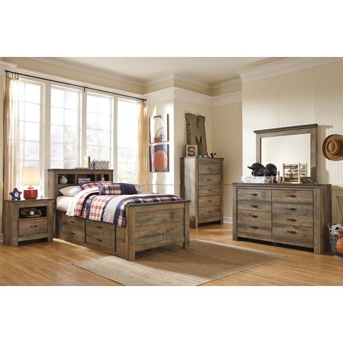 Twin Bookcase Bed With 2 Storage Drawers With Mirrored Dresser and Chest