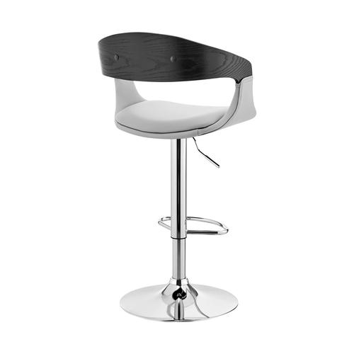 Armen Living - Benson Adjustable Grey Faux Leather and Black Wood Bar Stool with Chrome Base