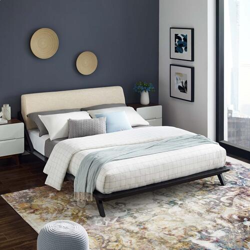 Luella Queen Upholstered Fabric Platform Bed in Cappuccino Beige