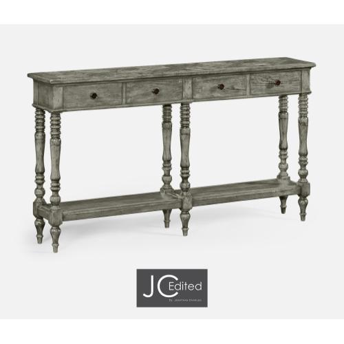 Antique Dark Grey Parquet Double Console Table