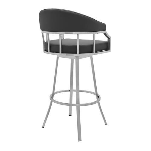 "Valerie 30"" Bar Height Swivel Barstool with Brushed Stainless Steel Finish and Grey Faux Leather"