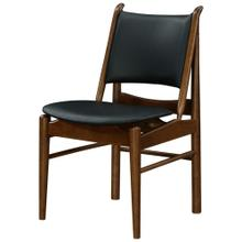 Wembley KD PU Chair Dark Walnut Frame, Black