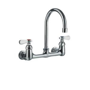 Heavy-duty wall mount utility faucet with gooseneck swivel spout and lever handles. Product Image