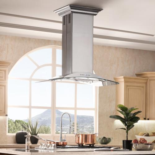 Zline Kitchen and Bath - ZLINE Convertible Vent Island Mount Range Hood in Stainless Steel & Glass (GL9i) [Size: 36 Inch]