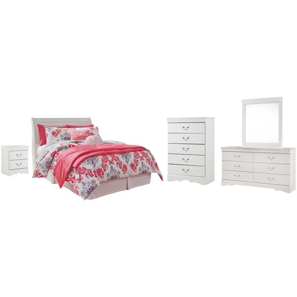 See Details - Full Sleigh Headboard With Mirrored Dresser, Chest and Nightstand