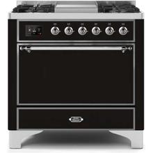 View Product - Majestic II 36 Inch Dual Fuel Liquid Propane Freestanding Range in Glossy Black with Chrome Trim